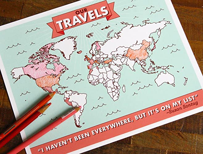 Amazon Colorin Travel Map Poster interactive map places I – Travel Map Where I Ve Been