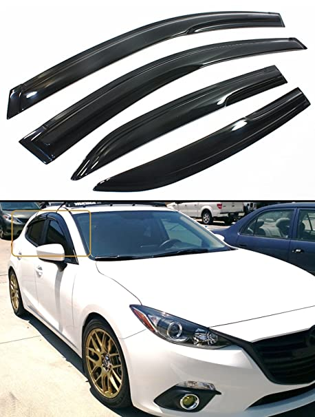 Cuztom Tuning JDM 3D STYLE SMOKED WINDOW VISOR VENT SHADE FOR 2014 2017 MAZDA  3