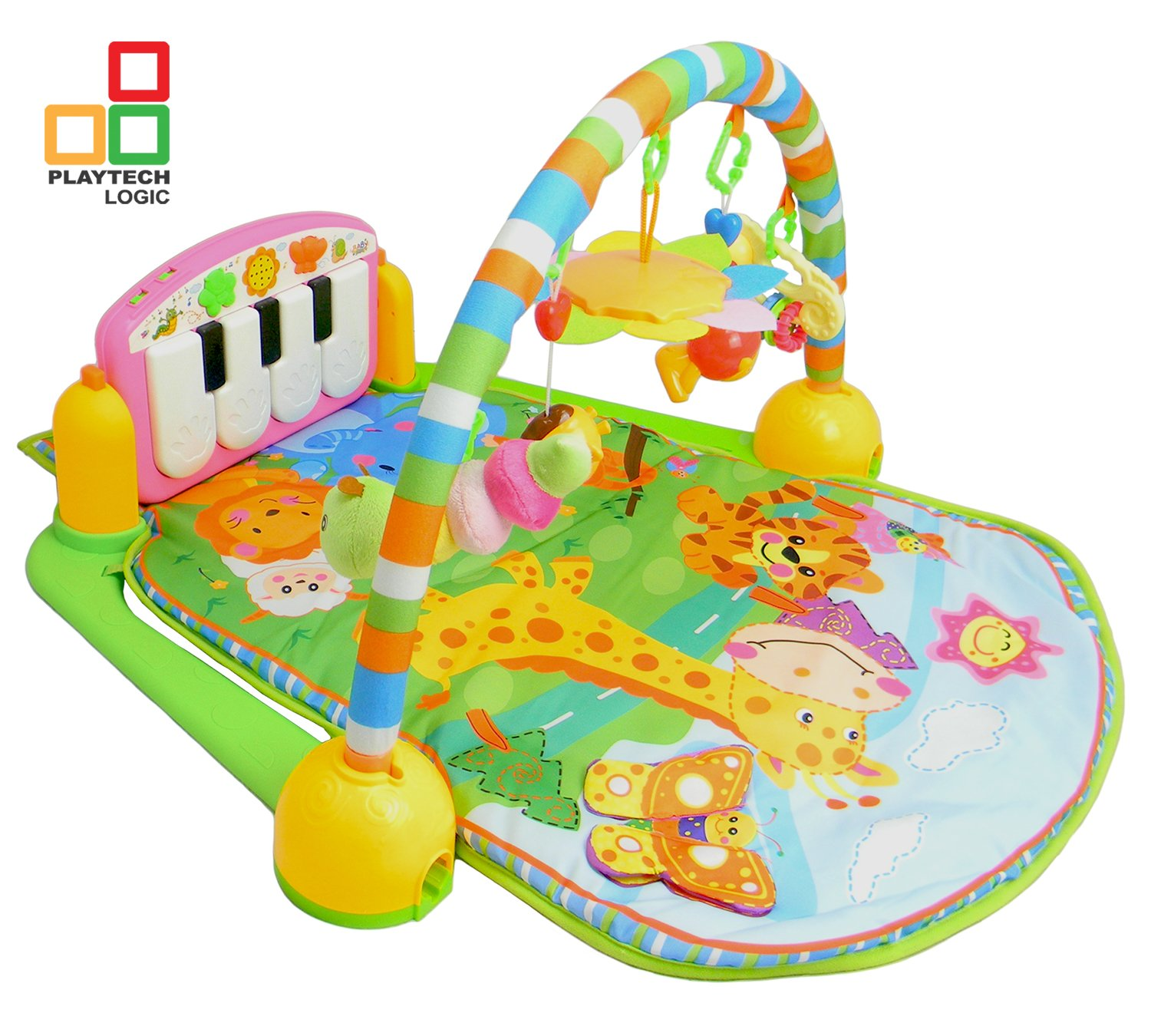 Piano Kick and Play Baby Play Gym Activity Mat Suitable from Birth   Large 4-in-1 Musical Playmat Activity Centre   Light & Sound Discovery Play Mat for Infant Toddler Newborn Babies 0-36 Months Pink Playtech Logic
