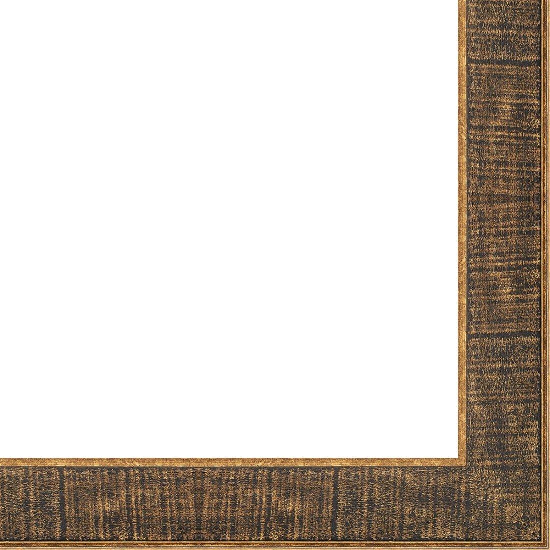 Picture Frame Moulding (Wood) 18ft bundle - Distressed/Aged Black Finish - 2.25'' width - 1/2'' rabbet depth