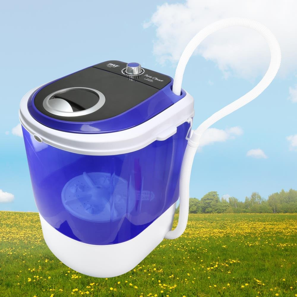 Quiet Washer 110V PUCWM11 Sound Around 4.5 Lbs Rotary Controller Top Loader Portable Laundry Translucent Tubs Mini Washing Machine Capacity For Compact Laundry Pyle Upgraded Version Portable Washer