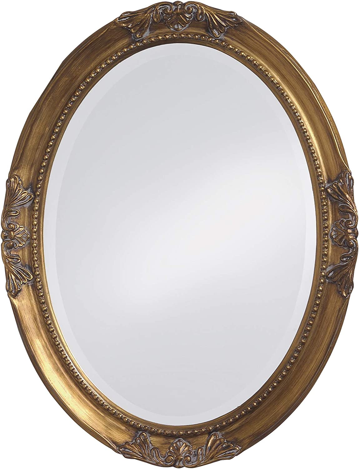 Howard Elliott Queen Ann Oval Hanging Wall Mirror, Beveled, Vanity, Antique Gold Leaf, 25 x 33 Inch