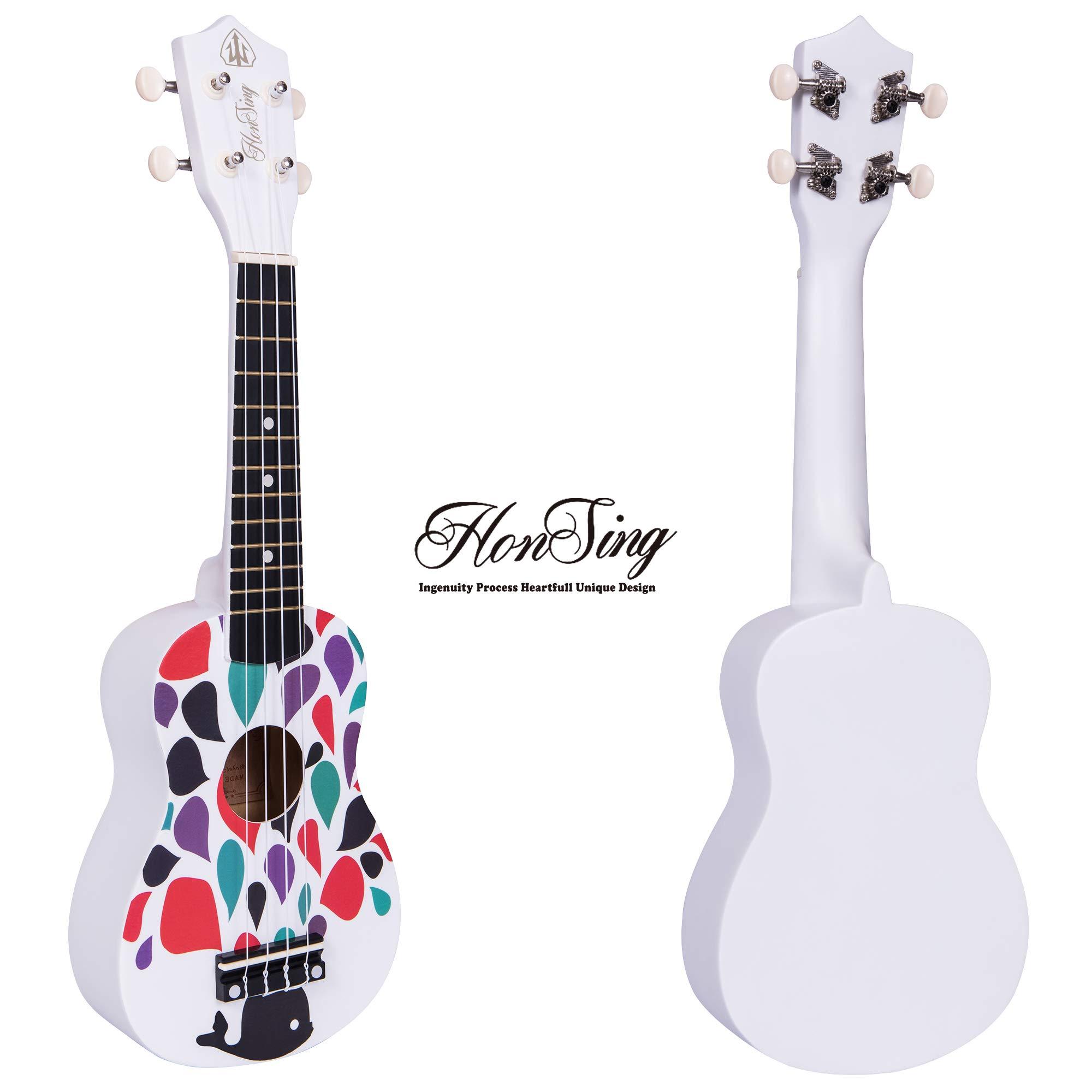 Honsing Kids Ukulele,Soprano Ukulele Beginner,Whale design Hawaii kids Guitar Uke Basswood 21 inches with Gig Bag,Tuner, Strings, Plectrum