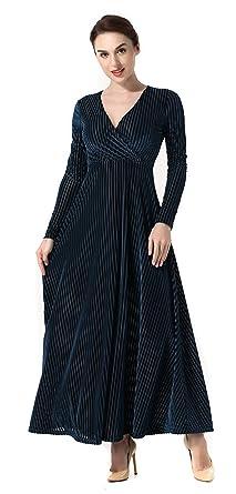 d940302c75c Y-BOA Femme Robe Velours Brillante Longue Col V Cache Cœur Plissé Taille  Haute Manche
