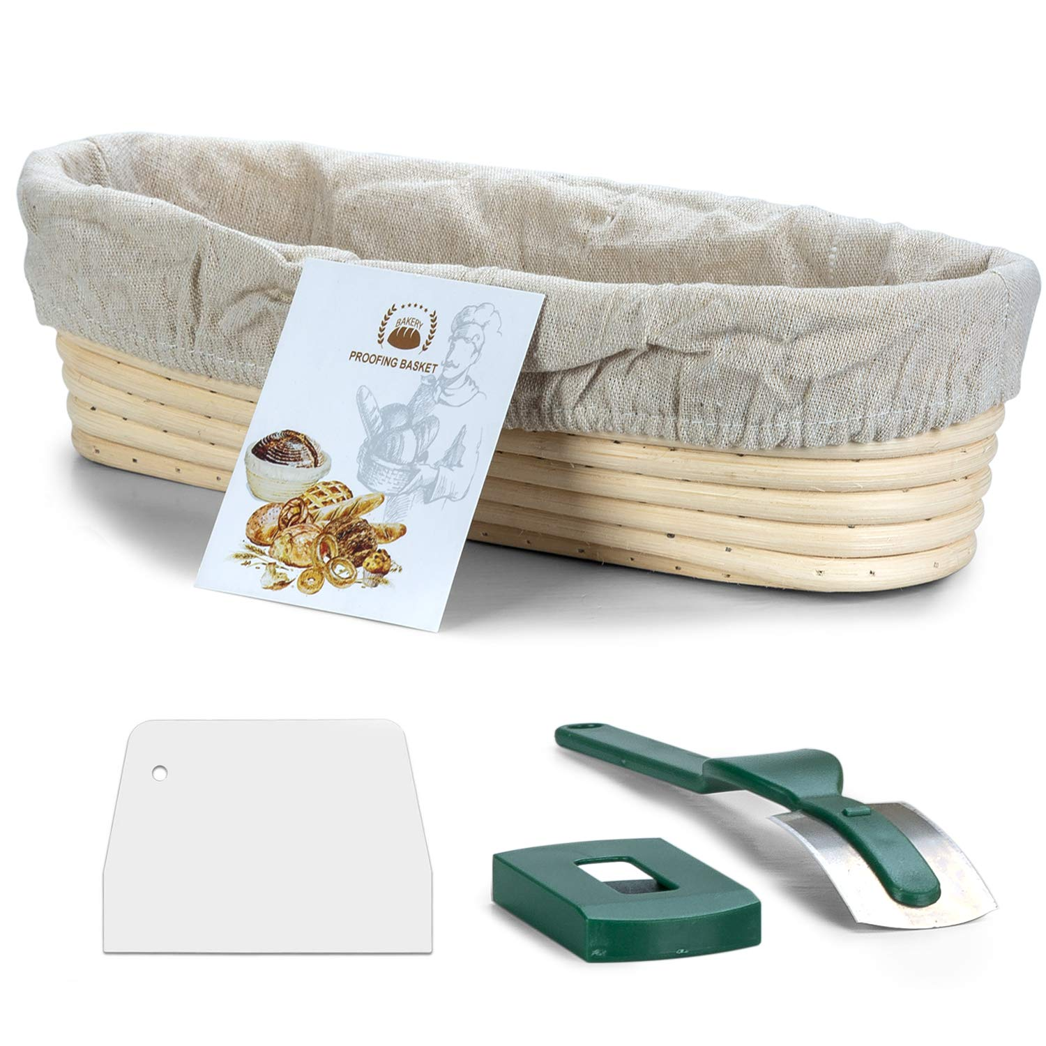 Oval Proofing Basket 13.8 Inch,WERTIOO Banneton Bread Proofing Basket + Lame + Linen Liner Cloth for Professional & Home Bakers