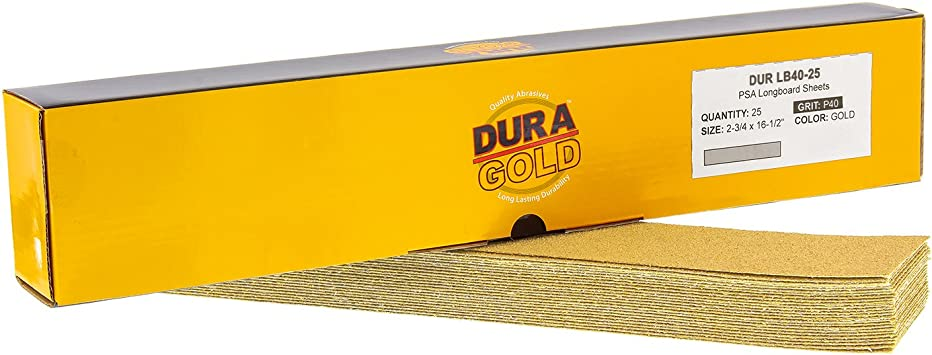 "Dura-Gold 80 Grit Gold Premium Pre-Cut Longboard Sheets 2-3//4/"" Wide by"