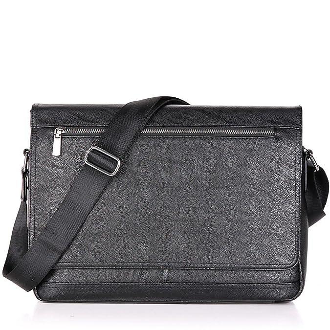e853a071d6 Amazon.com  Men Laptop Computer Messenger Bags Black Business Crossbody Bag  for Men Soft Leather Shoulder Bag 14inch SAJOSE (Black)  Shoes