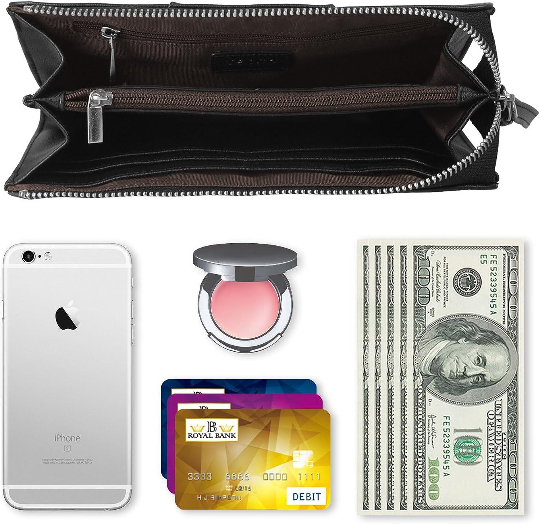 Becko Portefeuille et porte-monnaie longue pour femme avec porte-cartes de cr/édits