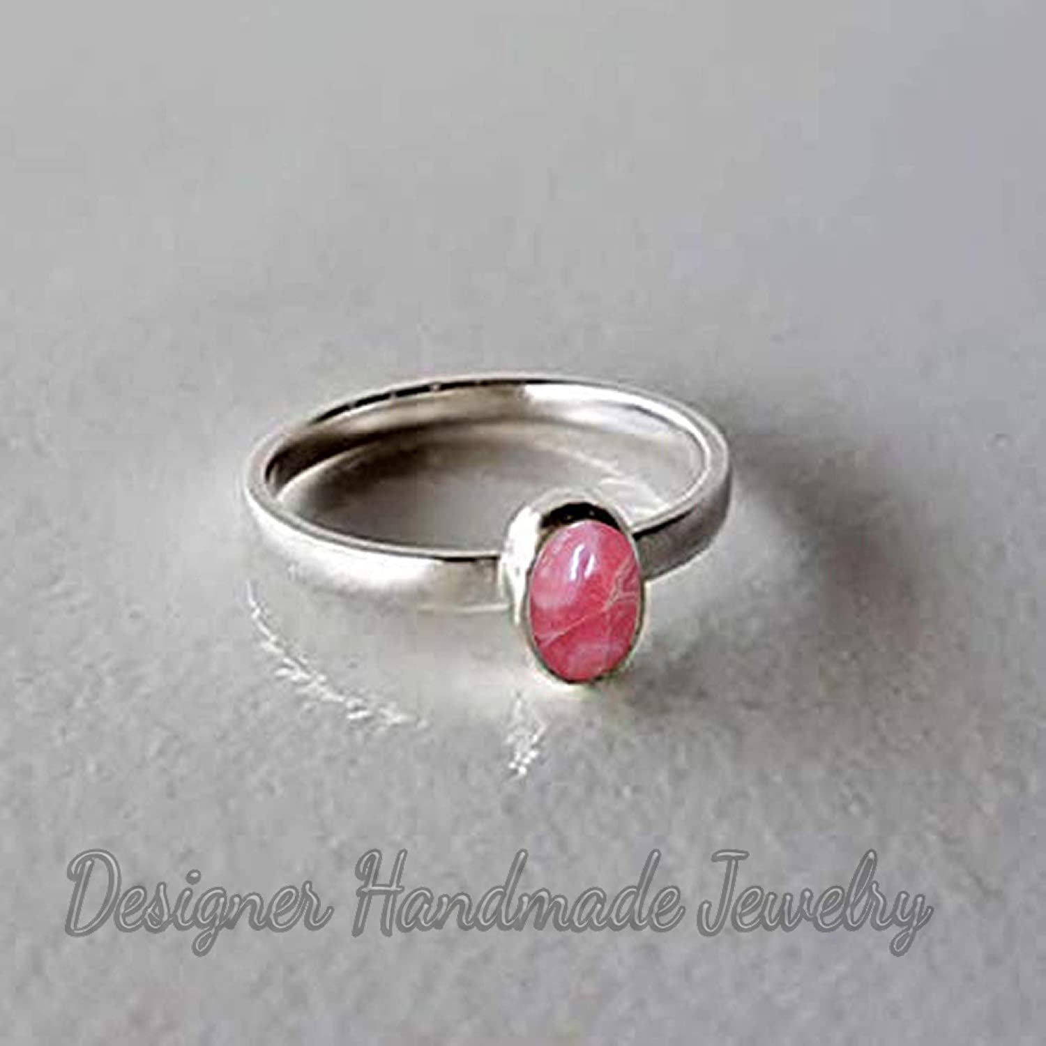 Natural Rhodochrosite Ring Womens Minimalist Ring Gift For Her Smooth Oval Gemstone Ring Anniversary Gift For Wife Metaphysical Healing Statement Ring Solid 925 Sterling Silver Handmade Ring
