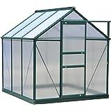 Outsunny 6'L x 6'W x 7'H Polycarbonate Portable Walk-In Garden Greenhouse