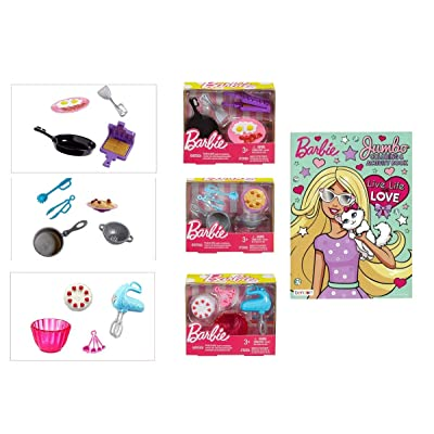 Kitchen Breakfast Pasta & Baking Accessory Playset & Coloring Book for Barbie: Toys & Games [5Bkhe0504087]