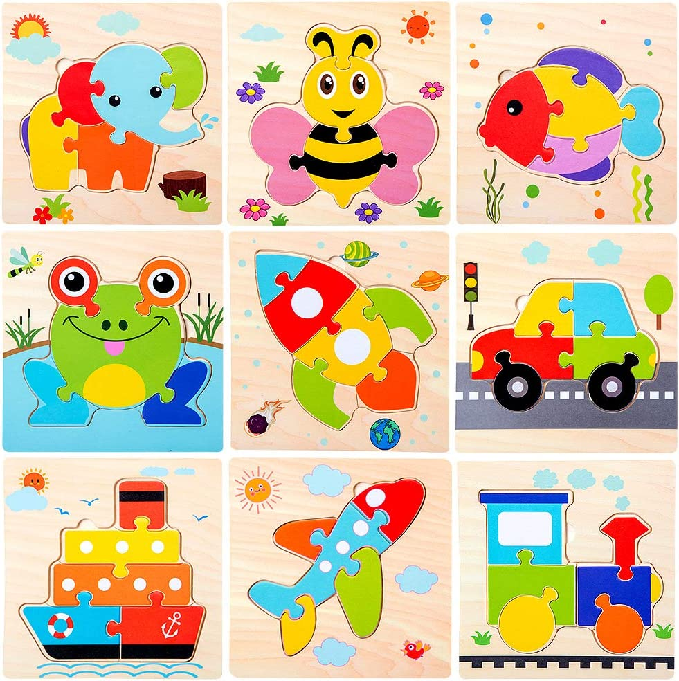 Amazon Com Wooden Jigsaw Puzzles For Toddlers Age 2 3 4 5 Year Old Preschool Animals Airplane Train Floor Puzzles Set For Kids Children Shape Color Learning Educational Puzzles Toys For Boys And