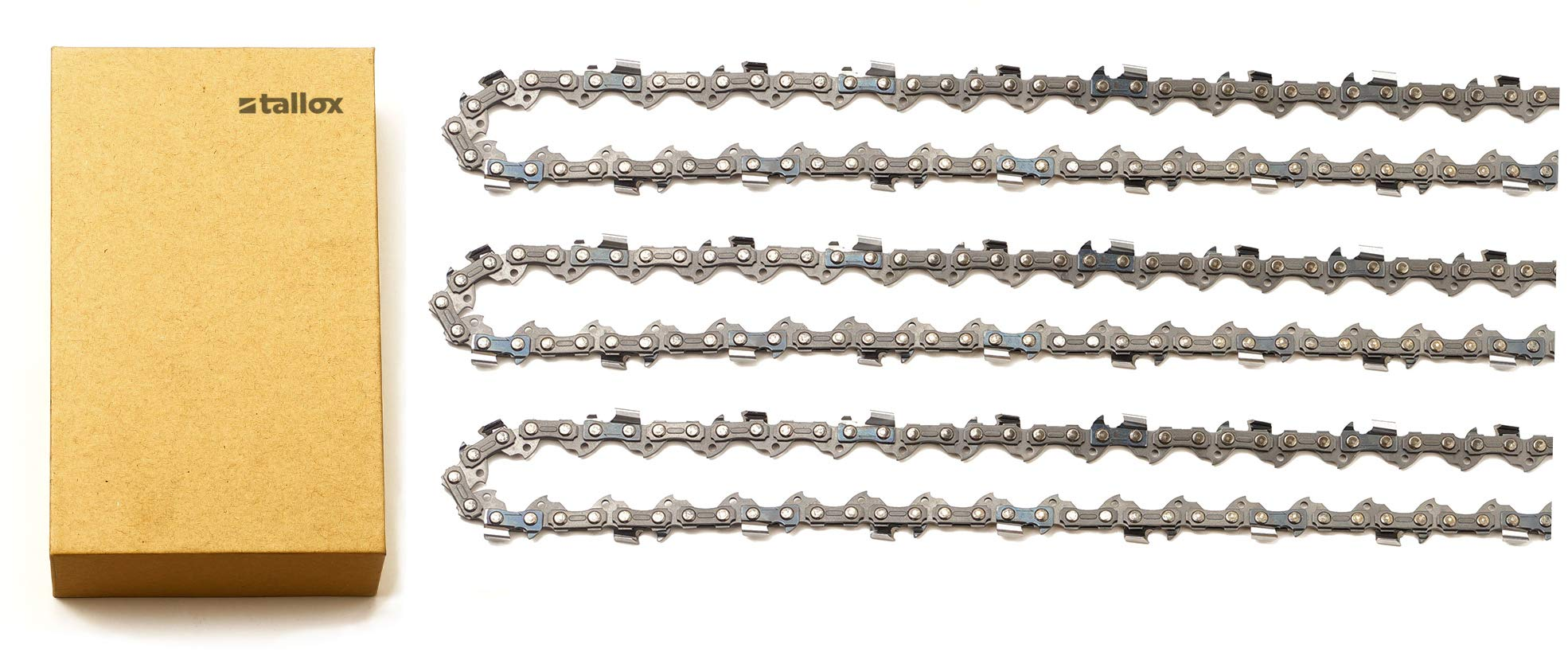 tallox 3 Pack 18'' Chainsaw Chains 3/8 LP .050'' 62 Drive Links fits Craftsman, Homelite, Poulan by tallox