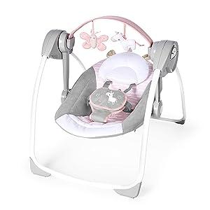 Ingenuity Comfort 2 Go Portable Swing Flora Compact Swing with TrueSpeed