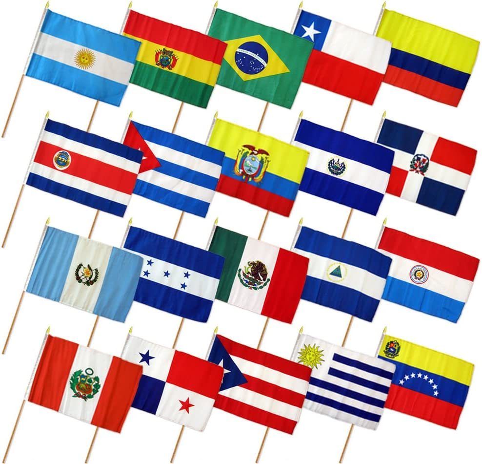 "12x18 12""x18"" Set of 20 Latin American Countries Stick Flag wood Staff"