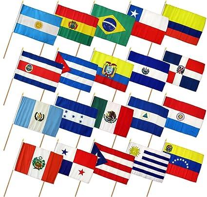 "12 x 18 12 ""x18"" Set de 20 Países de América Latina Stick"