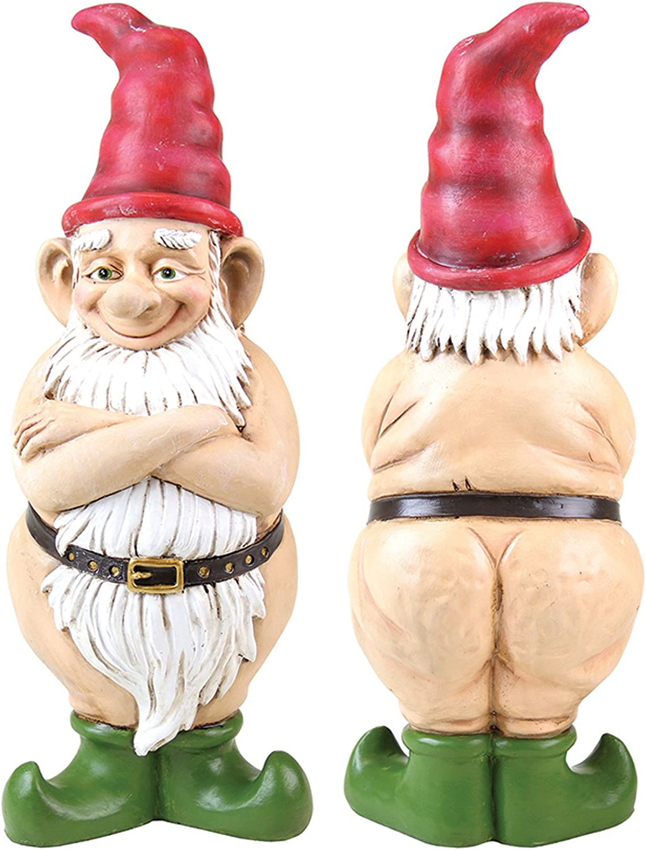 """Exhart Naked Gnome Garden Statue, Resin Statue Outdoor Garden Décor 5"""" L x 5"""" W x 14"""" H"""