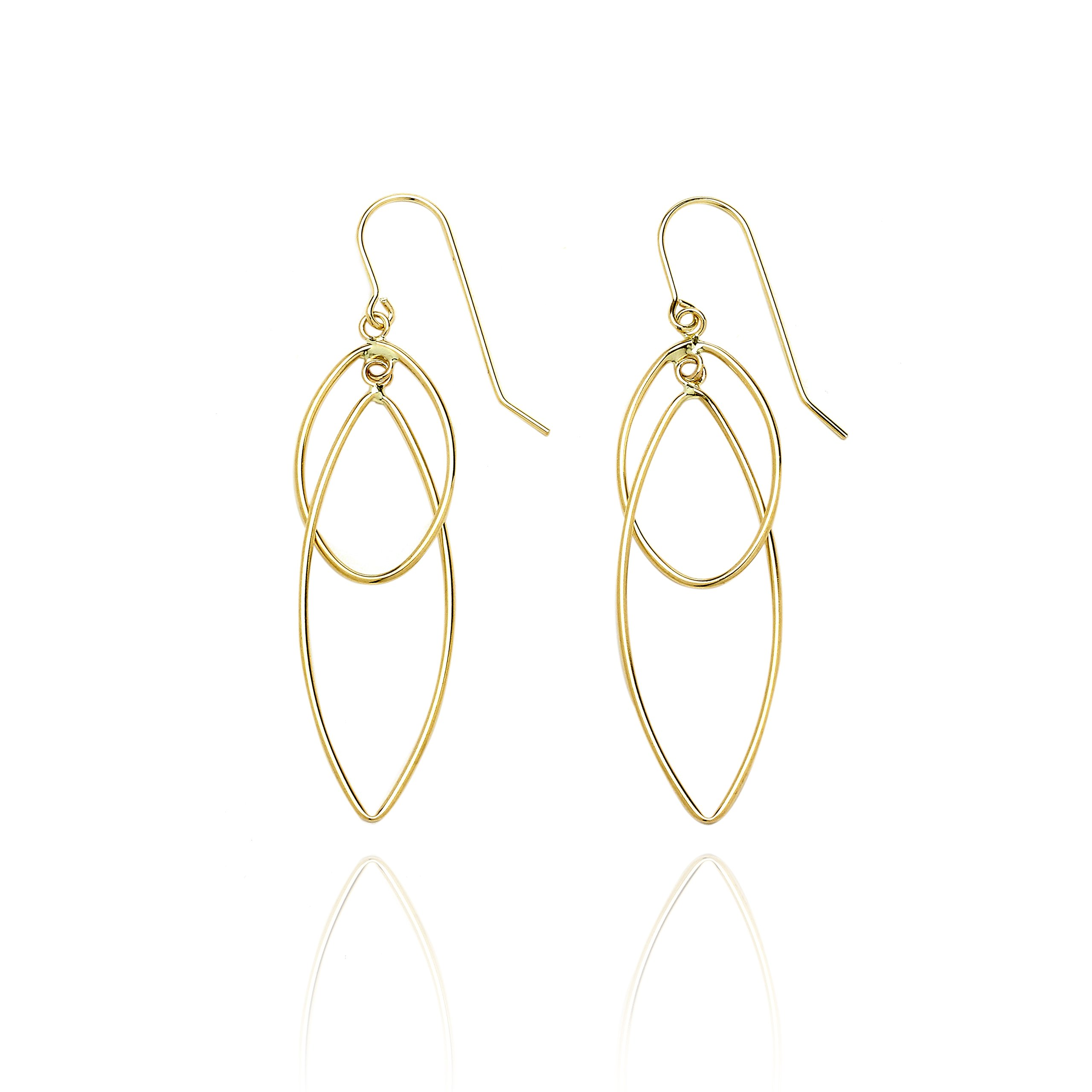 14k Yellow Gold High Polished Pointing Oval Earring with Fish Hook in Gift Box for Women and Teen Girls