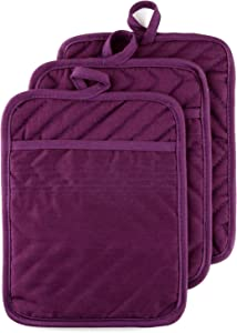 """VEIKERY Oven Pot Holder with Pocket 100% Cotton Heat Resistant Coaster Potholder Kitchen Hot Pad Oven Mitts for Cooking and Baking Square 3 Pack 7""""x9"""" (Purple)"""