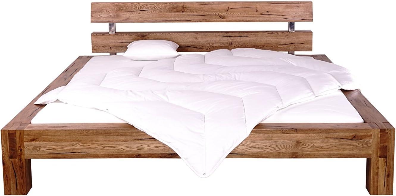 Spalteiche Balkenbett massiv gewachst-ge/ölt 180 x 200
