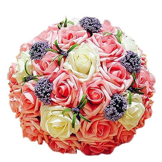 Hermosa novia boda ramo rosa/blanco boda flores: Amazon.es: Hogar