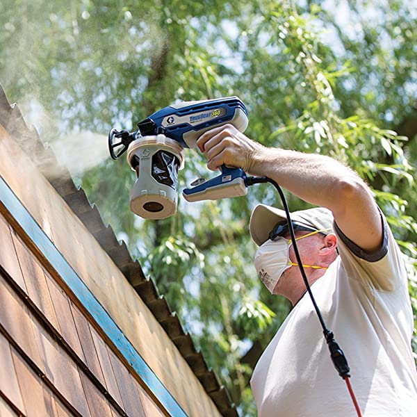 Use an airless paint sprayer for exterior painting