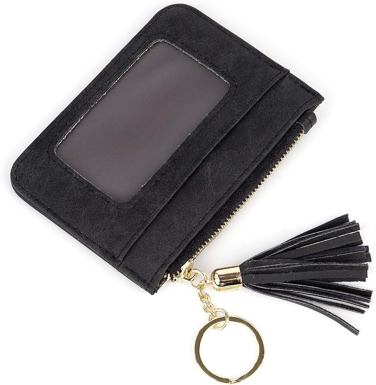 Key Fob Zipper Wallet Orange Poppies Zip ID Wallet Keyring Card Wallet Keychain Window ID Case Change Purse