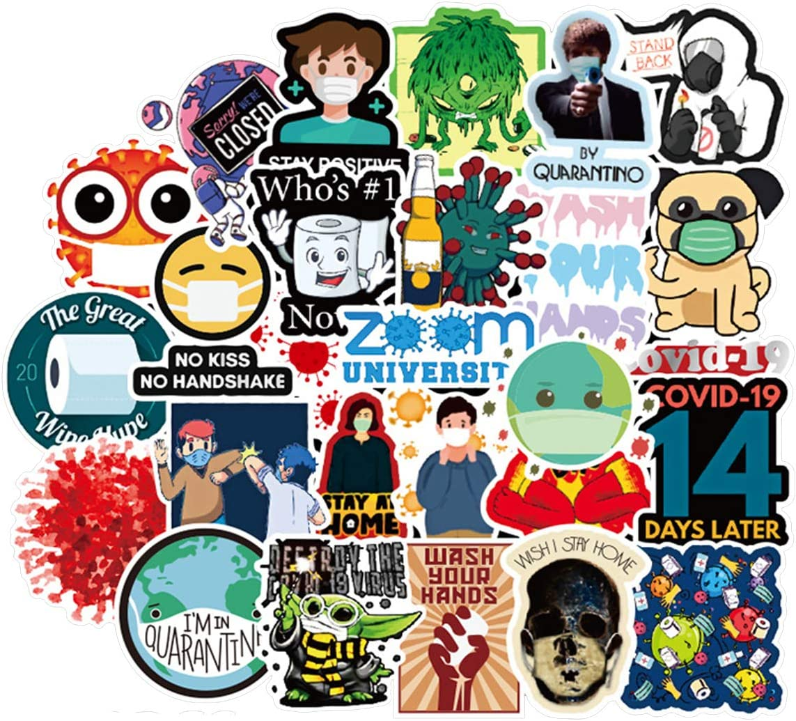 Tips for Virus Sticlers 50pcs, Considerate Fashion Funny Simple Clear Pictures and Slogans Stickers for Laptop, Car, Public Place, Class, Company (Tips for Virus)