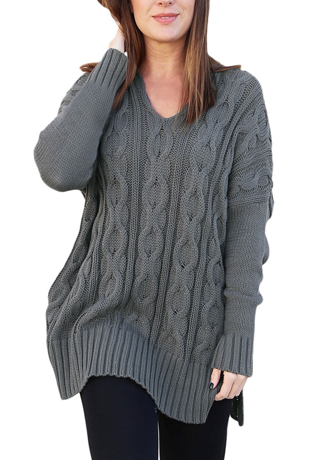 Twippo Womens Ladies Oversized Baggy Long Knitted Plain Chunky Top Knit Grey S by Twippo