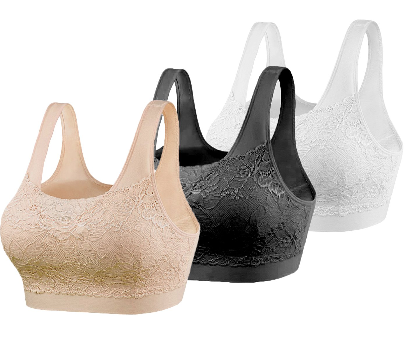Cabales KINYAOYAO Women's 3-Pack Lace Cover Sports Bra with Removable Pads,Lace Style-1,XXX-Large by Cabales (Image #1)