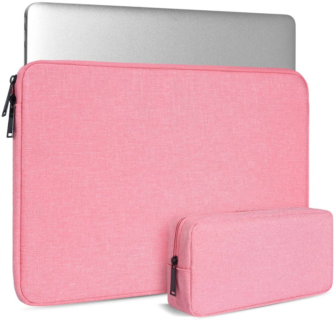 15.6 Inch Laptop Case for Women, Tablet Sleeve for Lenovo IdeaPad 15/Lenovo ThinkPad 15, Lenovo Yoga 730 720 710 C630, Lenovo Flex 5, Dell HP Asus Acer Chromebook with Small Case, Pink