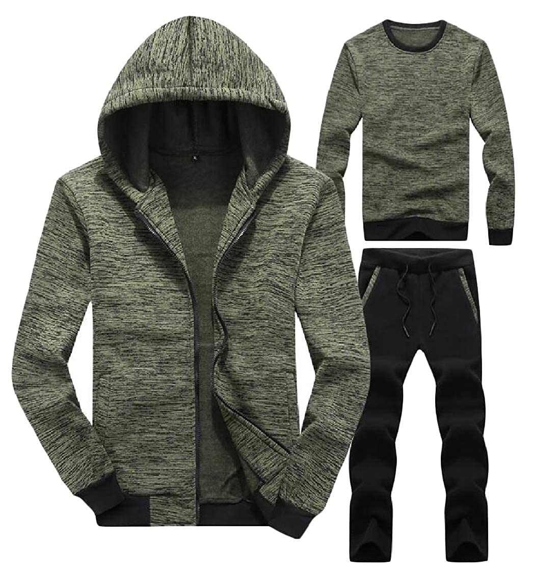 Etecredpow Mens Hooded 3 Pieces Clothes Casual Pullover Jacket Tracksuit Set