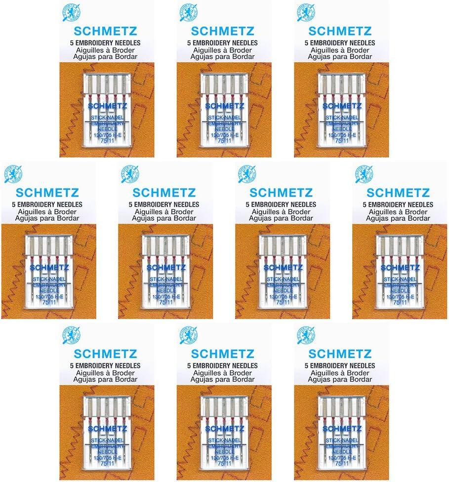 50 agujas para máquina de coser Schmetz bordado – tamaño 75/11 ...