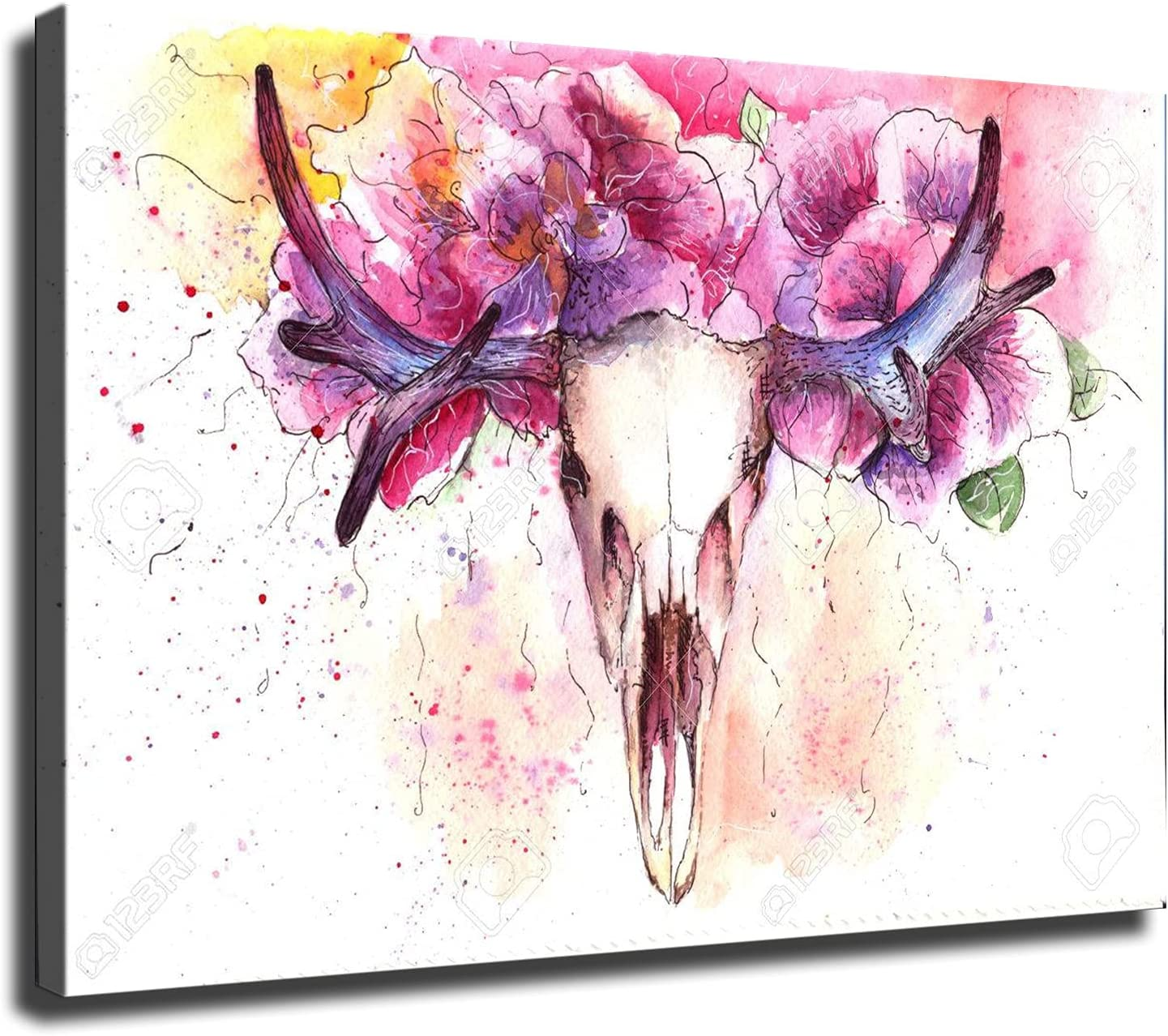 Water Color Deer Skull and Horn Flower Poster Picture Art Print Canvas Wall Art Home Living Room Bedroom Decor Mural (20×30inch-No Framed)