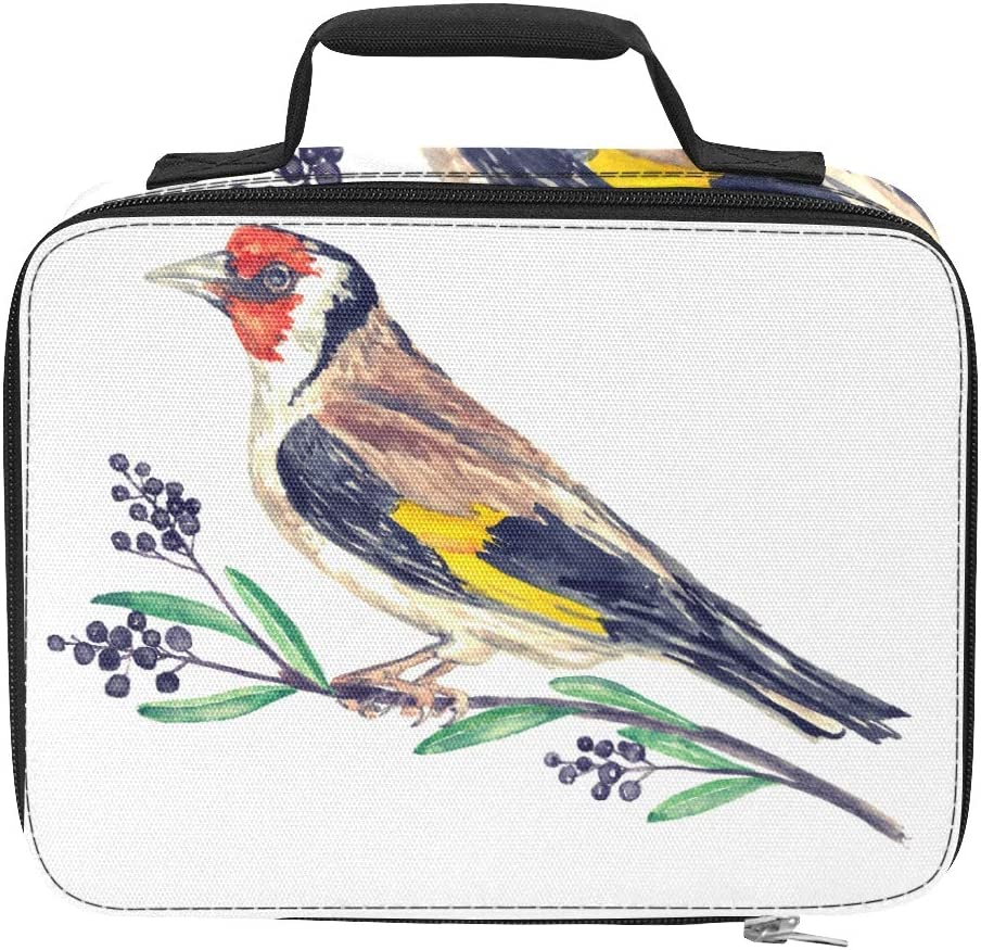 European Goldfinch Carduelis Bird Insulated Lunch Bags Insulated Leakproof Insulated Food Bag 9.51×3.15×7.48inch Grocery Shopping Beach Cooler Bags Insulated For Work Picnic Hiking Beach