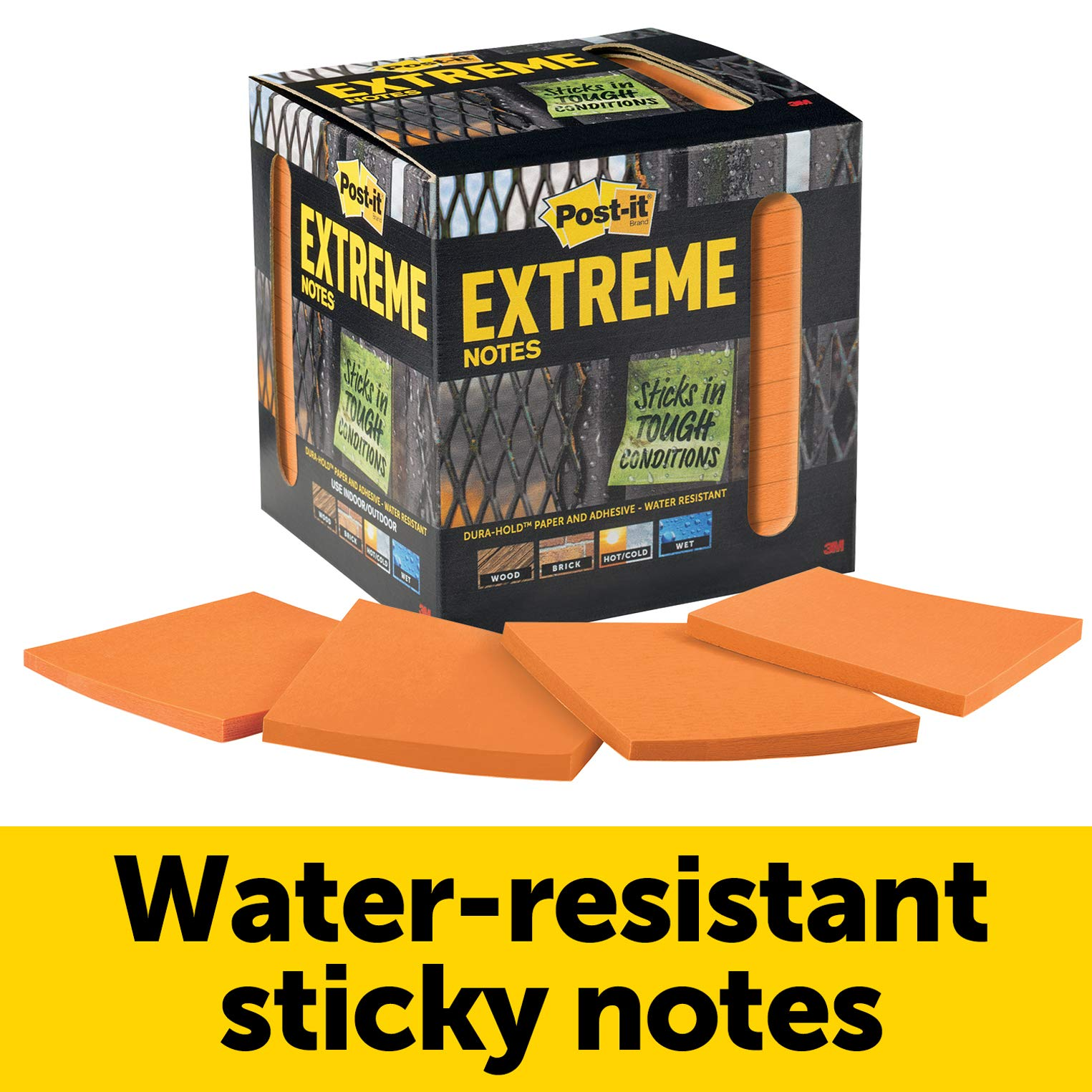 Post-it Extreme Notes, Orange, Water Resistant Sticky Notes, Great for Instructions, Recyclable Box, 3 in x 3 in, 12 Pads/Pack, 45 Sheets/Pad (EXTRM33-12TRYO)