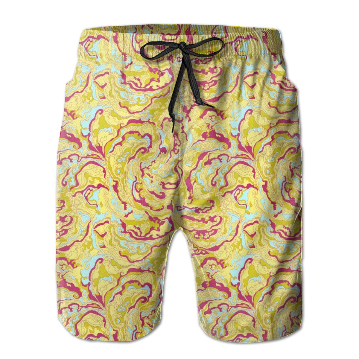 Fashion Swim Trunks Mens Board Shorts Camo for Men Smoke Yellow and Red Quick Dry Shorts