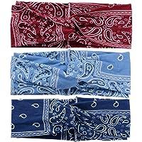 Elastische hoofdband met geprinte hoofdband, stretchy, voor vrouwen dunkelblau hellblau weinrot rood