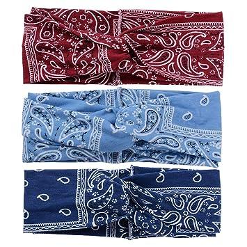 Diademas para mujer Diadema deportiva Bohemia Estampado floral Head Wrap Twist Knot Diadema Yoga Elastic Turbante Diadema (Azul oscuro Azul claro Vino ...