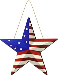 Wooden Patriotic Star Hanging Wall Decor Rustic American Flag Star Door Sign for July 4th Country American Patriotic Wall Ornament, Outdoor Decoration