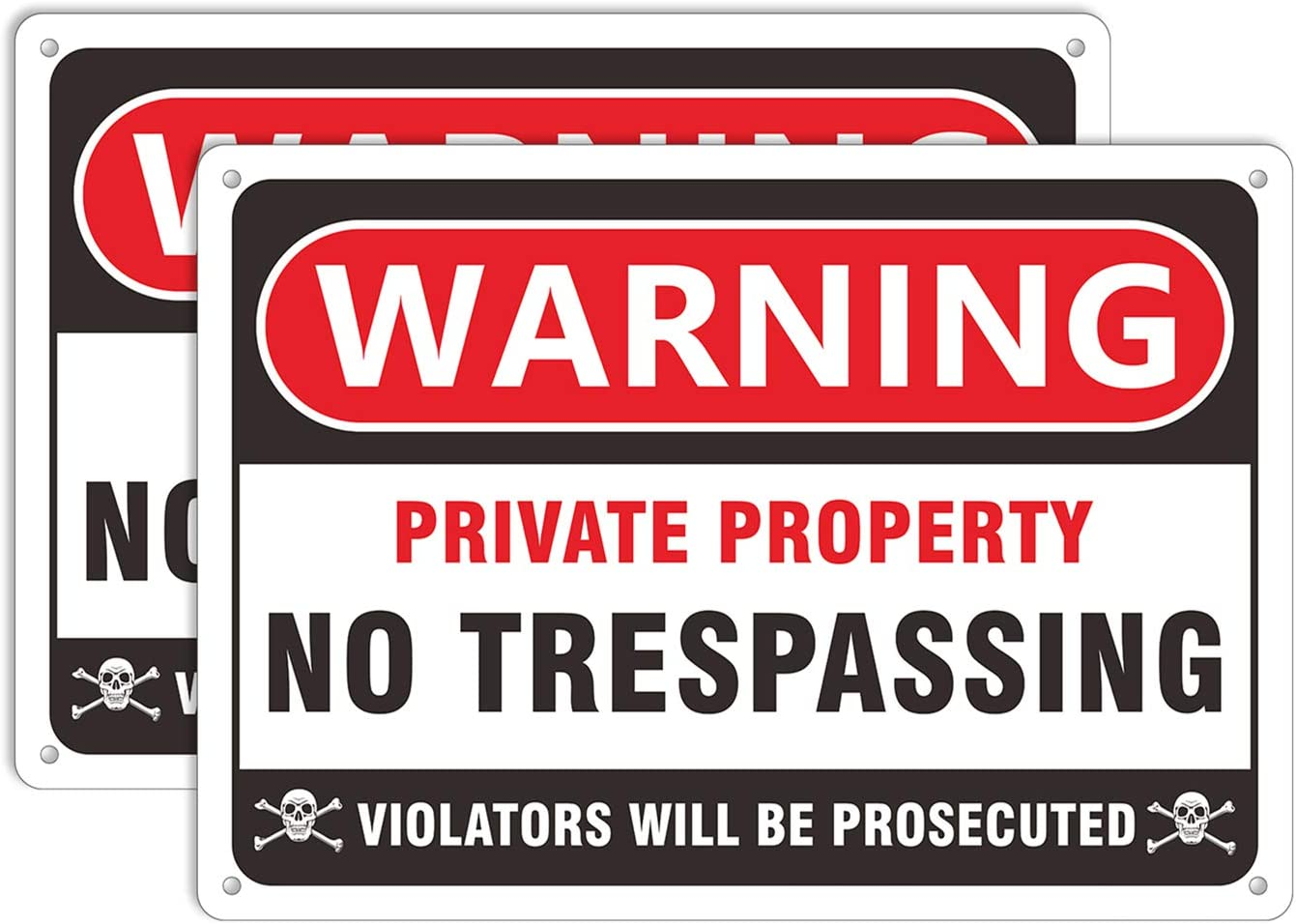 No Trespassing Signs Private Property, Keep Out Warning Metal Yard Signs, Aluminum Sign for Garden Outdoor Indoor Gates, Long Lasting Weather Resistant Ink (2 Pack)