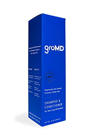 GroMD Doctor-Developed Hair Growth Stimulating Shampoo Conditioner, 10 oz, DHT Blocking Patented Ingredients, Capixyl, Hairgenyl, Argan Oil, Biotin, Daily Use for Men Women