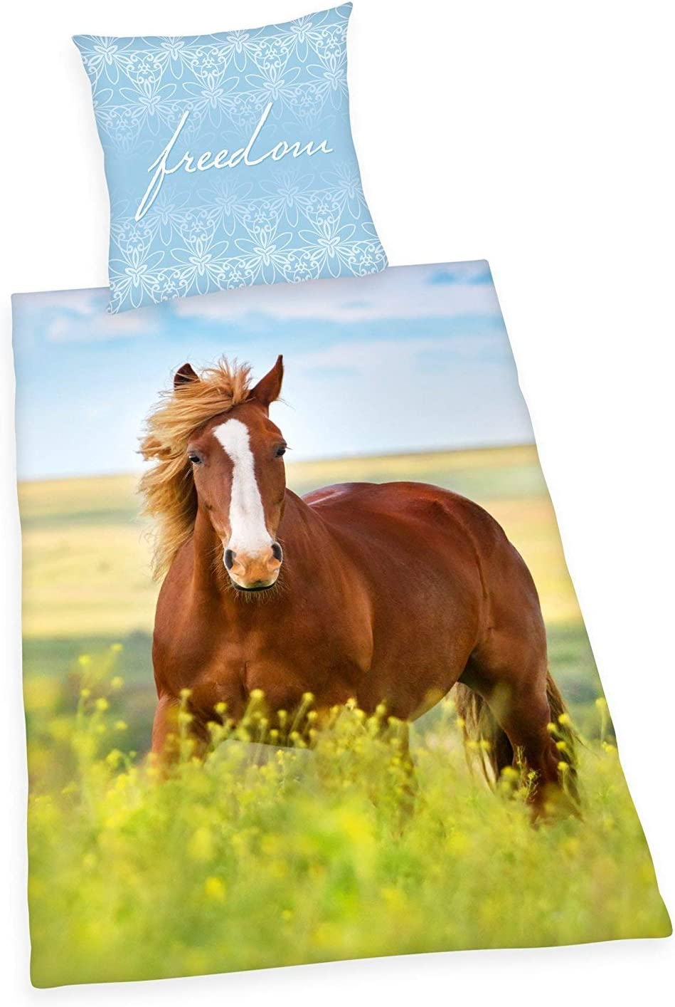 Ropa de Cama Herding Liso Caballo Pony Freedom Wiese 135 X 200cm Regalo Nuevo Wow - All-In-One-Outlet-24 - -