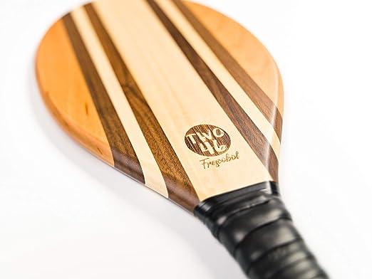 TWO46 speedracket | Premium Set de palas de playa de madera para Frescobol/Matkot/Beach-Tennis | + funda de algodón gratuita