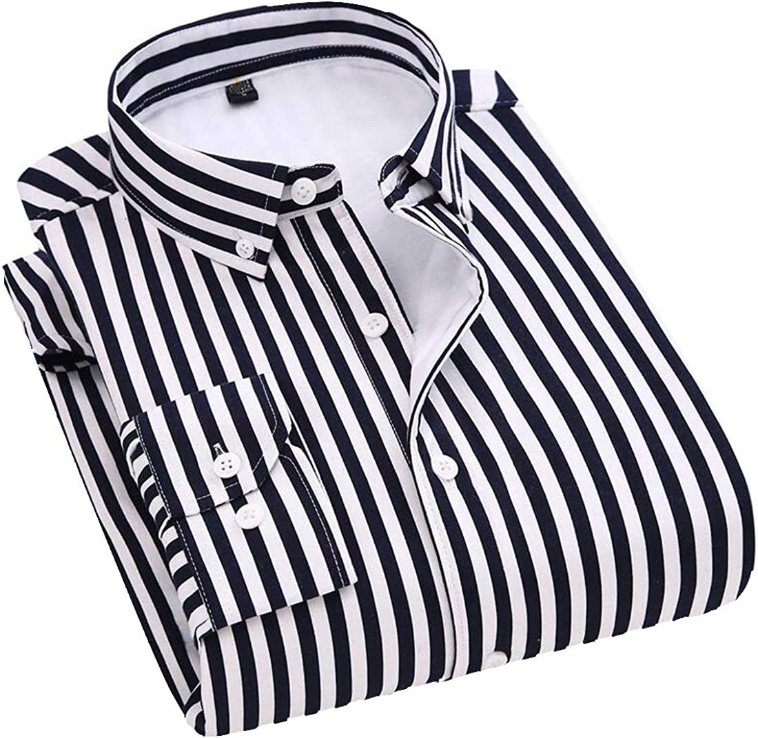 DFBB Men Long Sleeve Thicken Stripe Slim Fleece Lined Button Down Dress Shirt