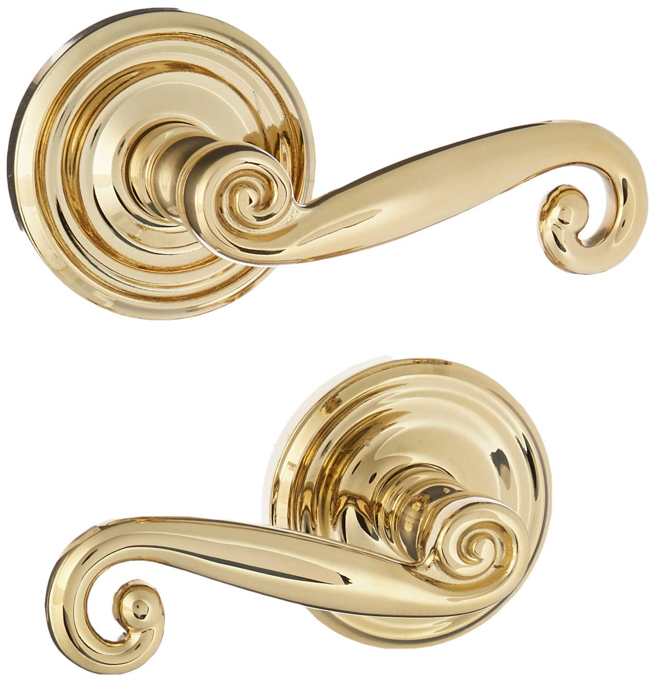Old Door Knobs. Classic Rosette Set With Elan Levers Right Hand Double Dummy In Polished Brass