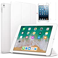for Apple iPad Air 2/iPad 6 Ultra Slim Smart Case Folio with (Translucent Back) Stand Flip Cover case Free with Glossy Screen Guard for for Apple iPad Air 2/iPad 6 Model (White)