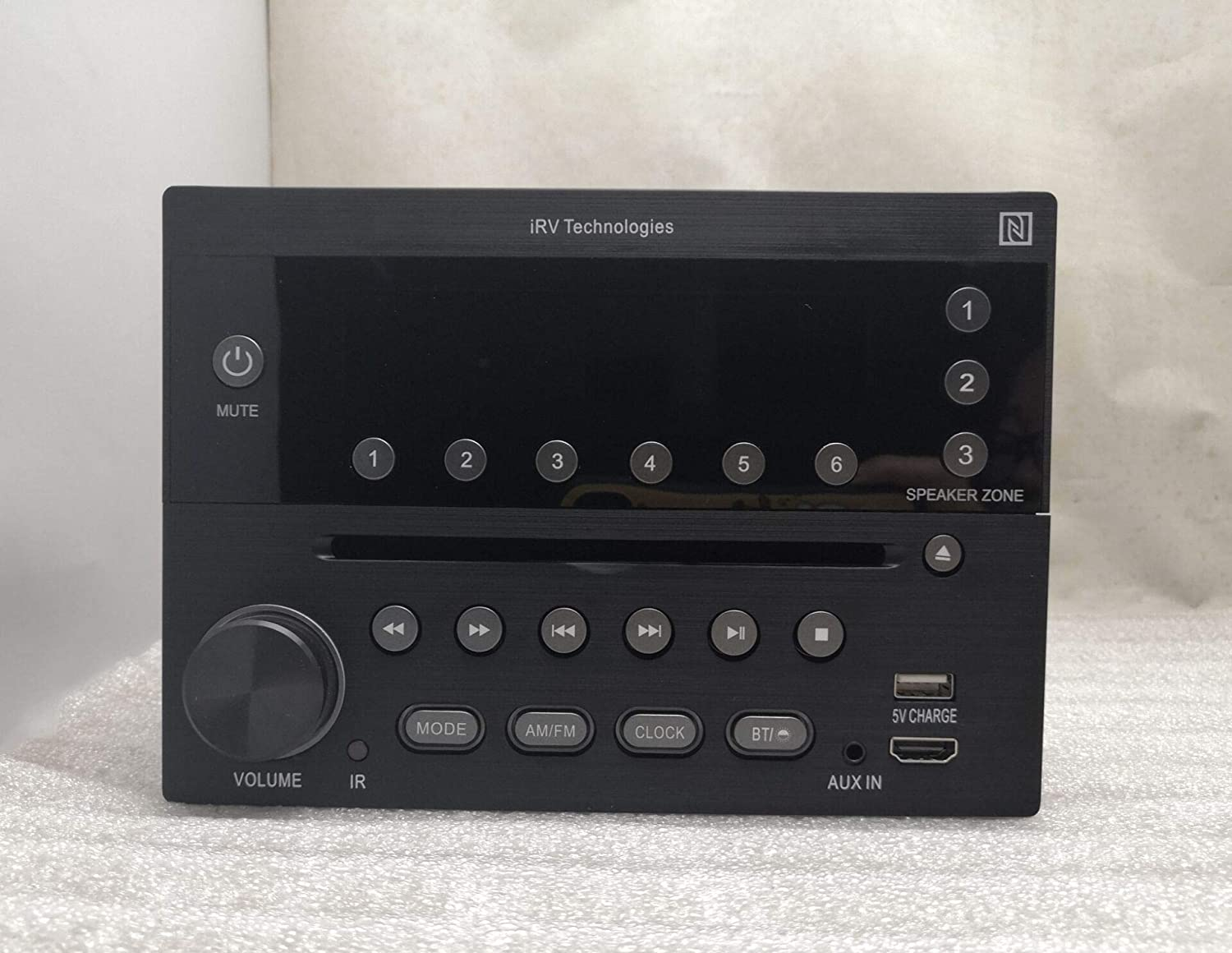 iRV Technology iRV32V2 AM//FM//CD//DVD//MP3//MP4//HDMI in/&Out w//ARC//Digital 2.1//Surround Sound//Bluetooth//CEC//NFC,3 Zones Wall Mount RV Radio Stereo w//APP Control USB Using 5V Charging Both Android/&Apple