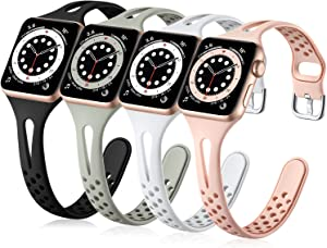 Getino Compatible with Apple Watch Bands 38mm 40mm 42mm 44mm for Women Men, Soft Durable Breathable Thin Slim Band Compatible with iWatch Series SE 6 5 4 3 2 1, Black/Pink/Gray/White 38/40mm