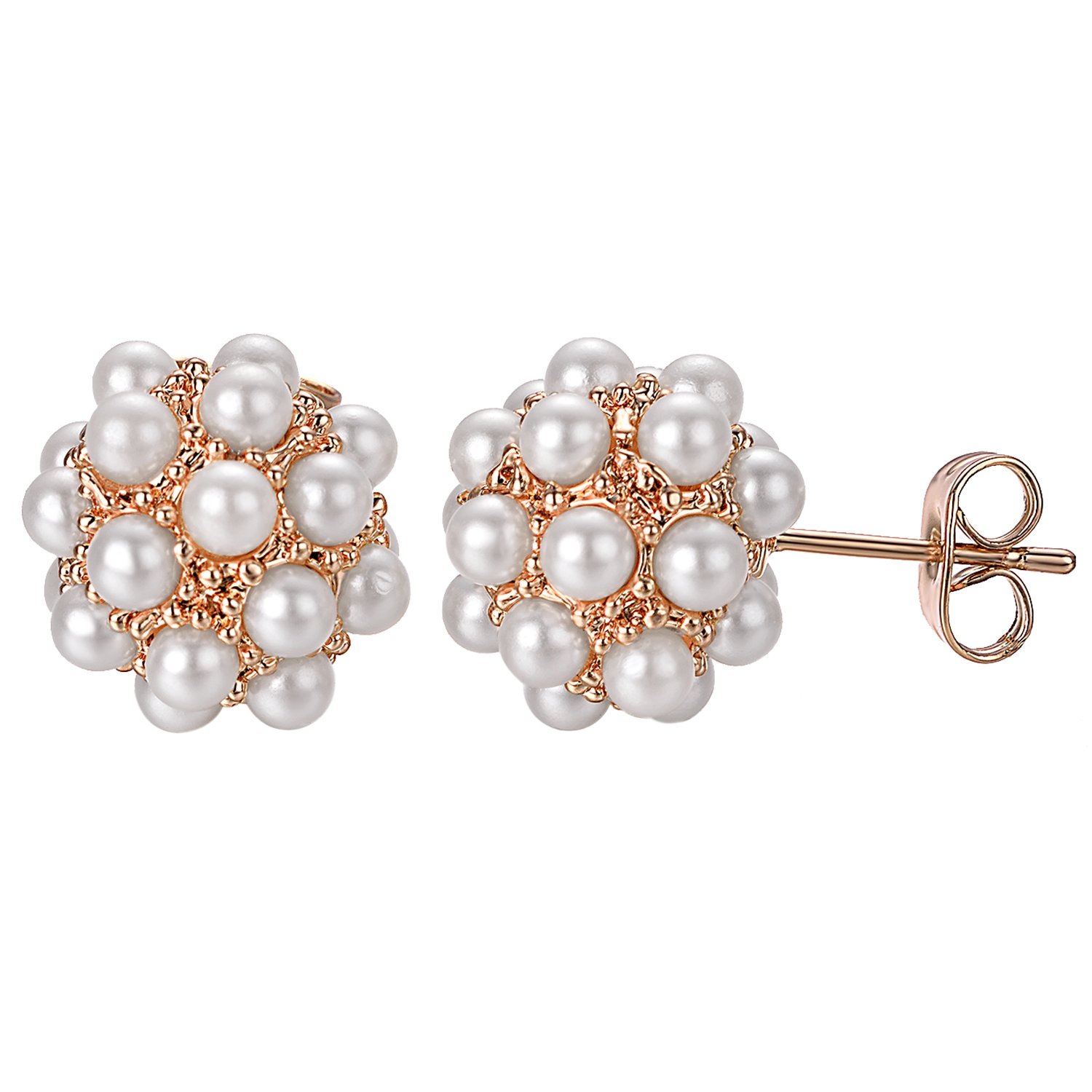 Yoursfs Simulated Pearl Earrings for Women Round Cluster Pearls Stud/Clip on Earrings Italina